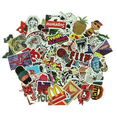 Pack of 100 Skateboard Stickers Graffiti Laptop Sticker Luggage Car Decals Mix