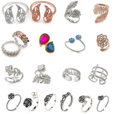 19 Different Designs Ladies Girls Rose Flower Wings Ring Band Adjustable Gift