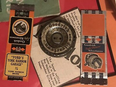 1920s 30s BF Goodrich Silvertown Tin Tire Toy And Matchbooks - Gas Oil Sign