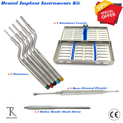 Implant Osteotomes Offset Convex-Tip Sinus Lift Bone Graft Chisels Free Cassette