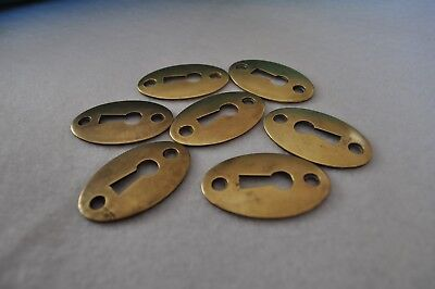 Three (3) Vintage Solid Brass Escutcheon Skeleton Keyhole Covers - Oval Shape