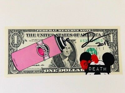 "Death NYC Limited Ed Signed Graffiti Pop $1 USD Art Mixed Media ""Mouse Perri Pk"""