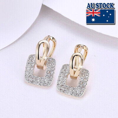 Elegant 18K Yellow Gold Filled CZ Crystal Square Huggie Dangly Hoop Earrings
