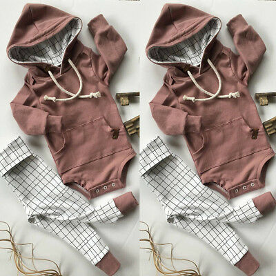 Newborn Baby Boy Girl Hooded Pocket Romper Tops+Long Pants Outfits Clothes Set