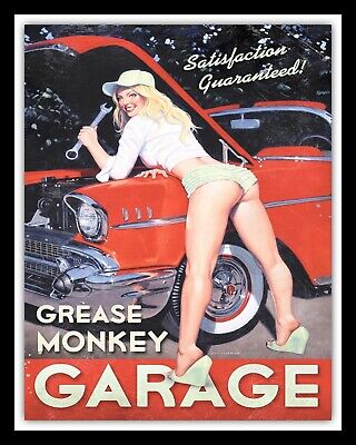 10 x 8 GREASE MONKEY GARAGE CAR WORKSHOP SEXY PIN UP GIRL METAL PLAQUE SIGN N352