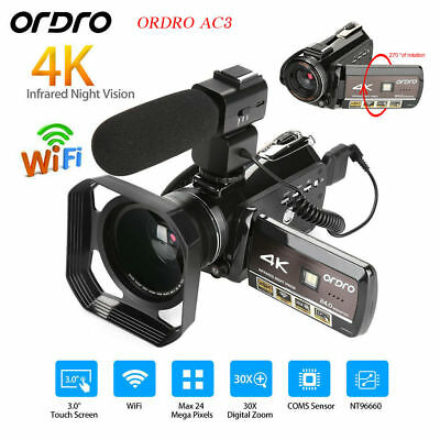 ORDRO Ultra 4K Full HD 1080P Sports DV Camera WiFi Camcorder + Wide Angle Lens