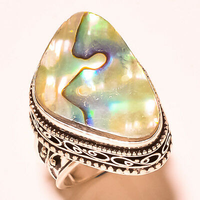 """Brilliant Look Abalone Shell With Vintage Design 925 Silver Gemstone Ring S-7"""""""