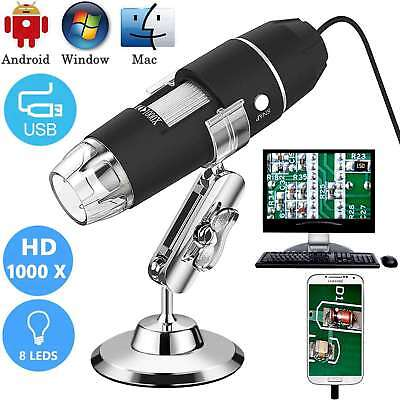 1000X USB Microscope Camera Digital Endoscope Magnifier PC Android 8 LED w/Stand