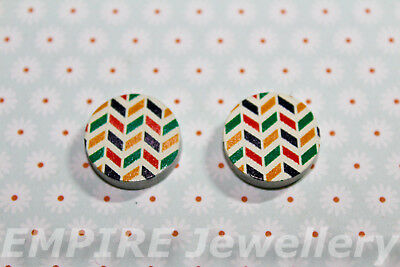 2 x Multicolour Chevron Pattern Wooden Laser Cut Flatback 16x16mm Cabochon