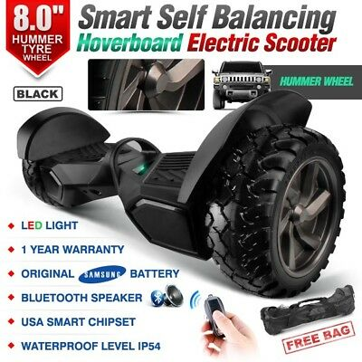 """8"""" Hummer Tyre Two Wheel Black Smart Self Balancing Electric Scooter Hoverboard"""