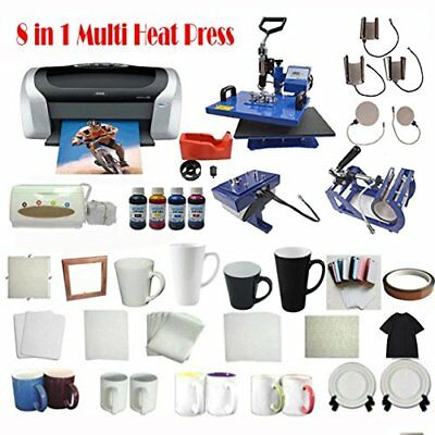 8IN1 Heat Press Transfer Machine Epson Printer CISS Mug Plate Paper Ink T-shirts