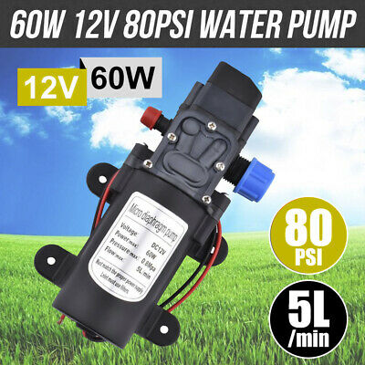 Caravan Camping Boat 60W 12V 80PSI Water Pump High Pressure 5L/Min Self-Priming