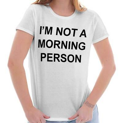 Morning Person Sleep Awake Womens T Shirt   Funny Comfy Lazy Tired Ladies Tee