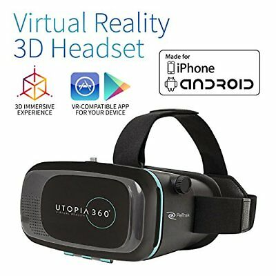 Utopia 360° VR Headset | 3D Virtual Reality Headset for VR Games, 3D Movies, and
