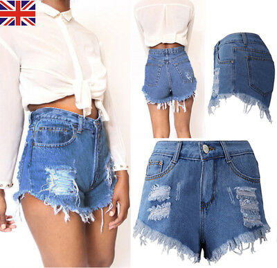 Ladies Vintage Ripped Womens High Waisted Denim Shorts Jeans Hot Pants Size 6-18