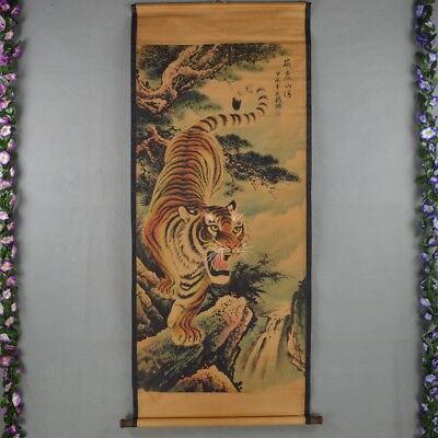 Chinese Scroll Painting, Calligraphy Tiger picture Painting, Wood Ends