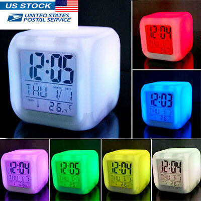 Color Changing Digital Alarm Clock & Thermometer Night Glowing Cube 7 LED Colors