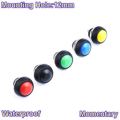 Waterproof 12mm Round Off(On) Momentary Push Button Switch Various Colors 250V