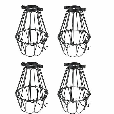 Set of 4 Industrial Vintage Style Black Hanging Pendant Light Fixture Metal Wire
