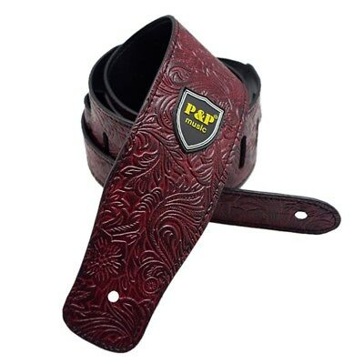 """2.6""""Wide PU Leather Floral Pattern Adjustable Guitar Strap,Electric Basses Strap"""