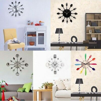 3D Removable Modern Cutlery Kitchen Multi-color Fork Spoon Wall Clock Decoration
