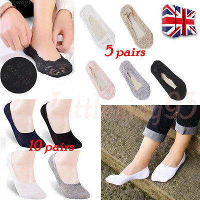 5Pairs Women Skin Shoe Liners Footsies Invisible Thin Ladies Lace Socks Sheer UK