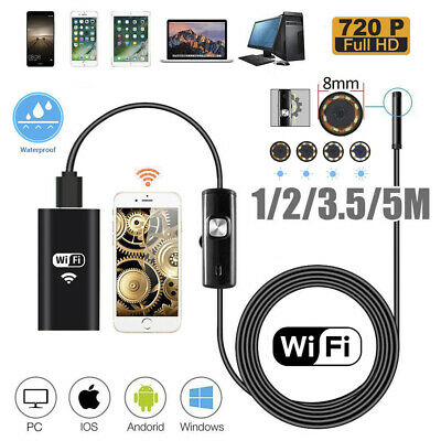 iPhone Android PC 1/2/3.5/5M 2MP 8mm WIFI Endoscope Borescope Inspection Camera