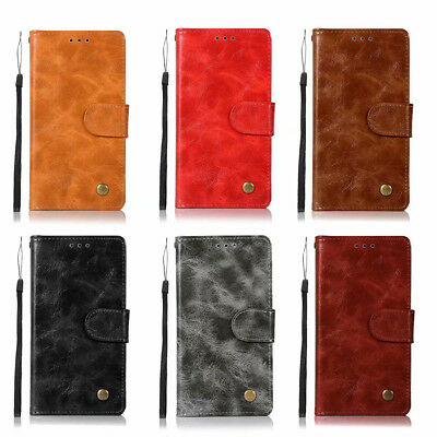 Luxury Retro Wallet Card Slots Leather Stand Flip Cover Case For Huawei Phones