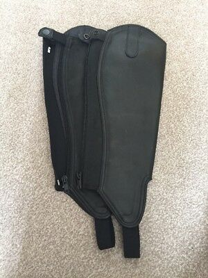 Brand New Black Leather Riding Chaps Size S