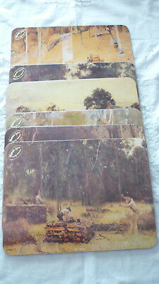 Vintage Set Of 6 Olympic Tyres Cork Placemats Depicting Art By Aust. Artists