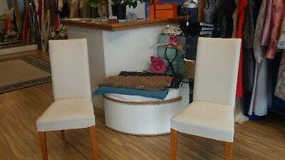 Cream Faric covered high backed Dining Chairs x 2