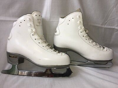 Risport Ultima Mark Iv Blades White Leather Girls Ice Skates - Size 2, 230 - Vgc