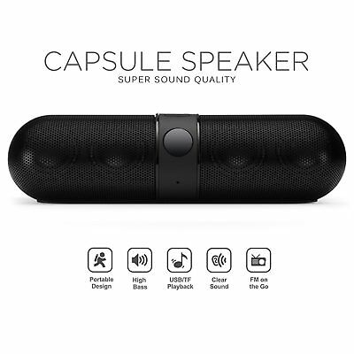 Bluetooth Wireless Speaker Mini Super Bass Aux USB Stereo Mp3 Pill Speaker Black