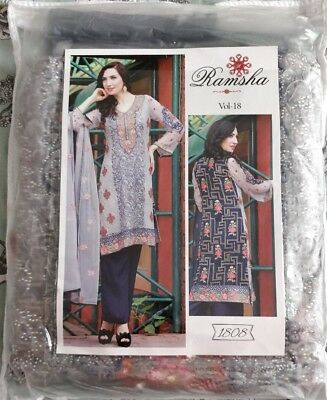 Ramsha Grey and Navy Dress Suit with Floral Pattern Brand New Unopened