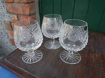 3 Tyrone Crystal large Brandy Glasses Dated 1992 1993 1994 for Belfast Telegraph