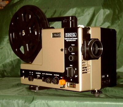 EUMIG S-912 GL  SUPER 8mm, 2 TRACK SOUND, OPTIC LEVEL LENS, MOVIE PROJECTOR.  A1