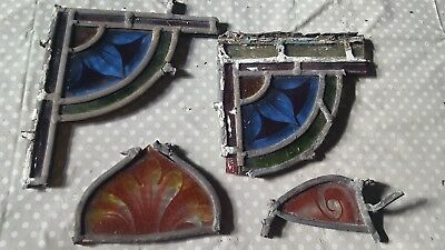 4 x old pieces of handpainted glass spares/repair/craft