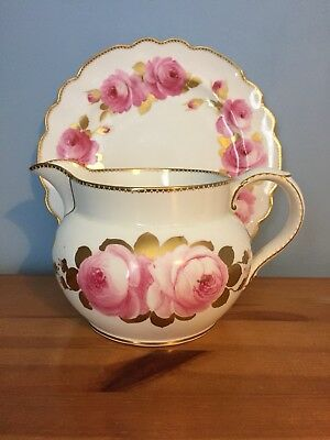 George Jones And Sons Crescent China Antique jug and plate - best burnished gold