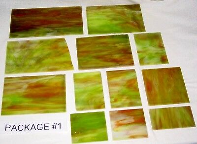 Reclaimed Stained Glass Pieces Vintage/Antique - Lot of 12