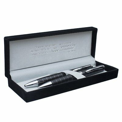 Classic Pen & Pencil Set - Black w/Silver Inlays & Etched Cross