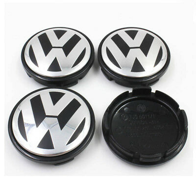 4x 56mm Black Wheel Center Cover Hub Cap Logo For VW Golf Jetta Beetle 1J0601171