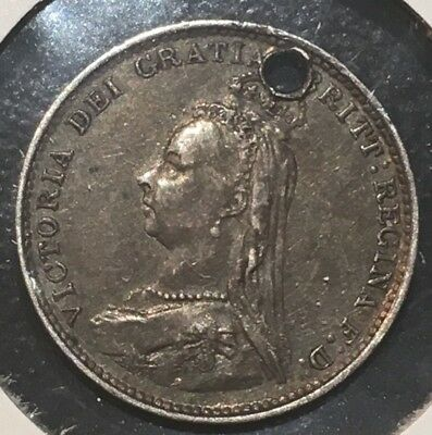 1887 UK Great Britain 3 Pence Silver Coin