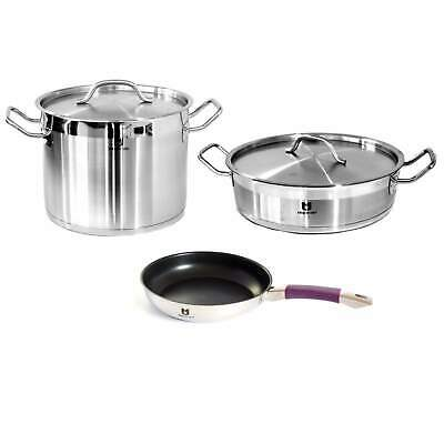 3 PCS Stainless Steel Induction Cookware Set