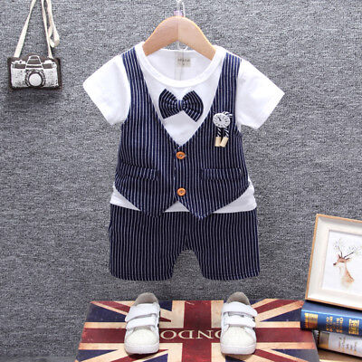 Kids Baby Boys Formal Clothes Party Clothing Sets Outfits Suits T-shirt + Shorts