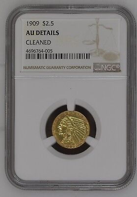 1909 $2.5 Indian Head Quarter Eagle Gold Coin NGC AU Details Cleaned