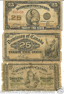 Set of 3- 1870 , 1900 & 1923  Dominion of Canada 25 Cents Fractional Currency