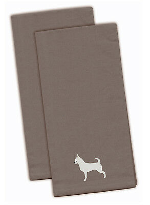 Chihuahua Gray Embroidered Kitchen Towel Set of 2