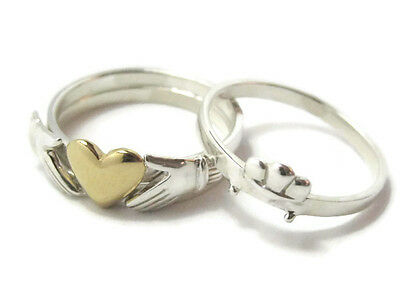 Irish Claddagh Ring 14kt Gold Heart on 925 Sterling Silver 3 Puzzle Stack Bands
