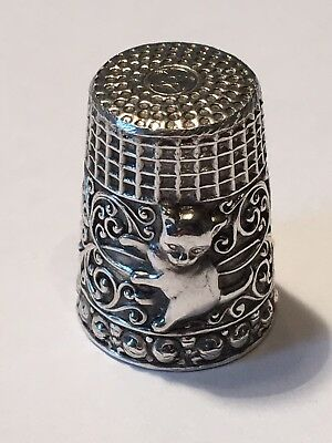 Vintage Cat Themed Gold Wash Sterling Silver 925 Thimble