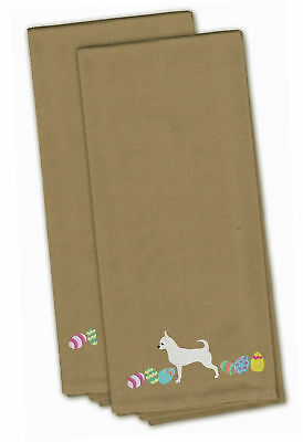 Chihuahua Easter Tan Embroidered Kitchen Towel Set of 2